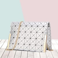 Diamond Rhombus Texture Mini Square Messenger Bags - Silver