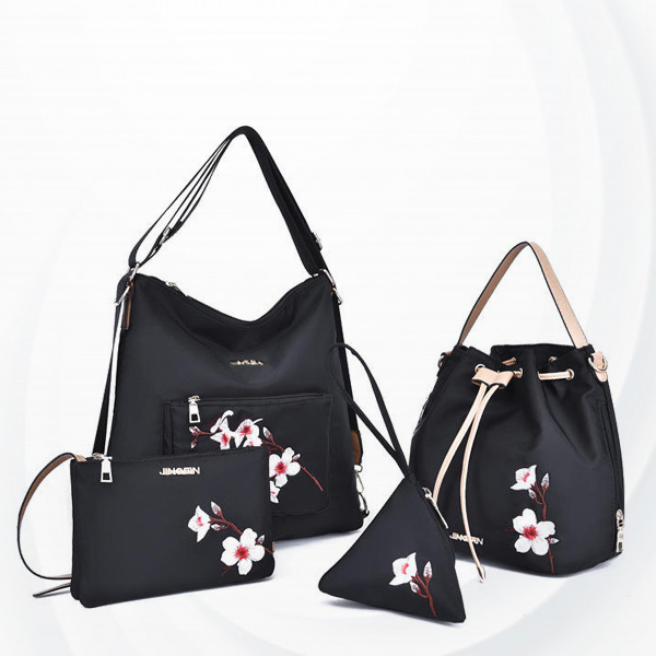 Four Pieces Floral Embroidered Bags Set - Black
