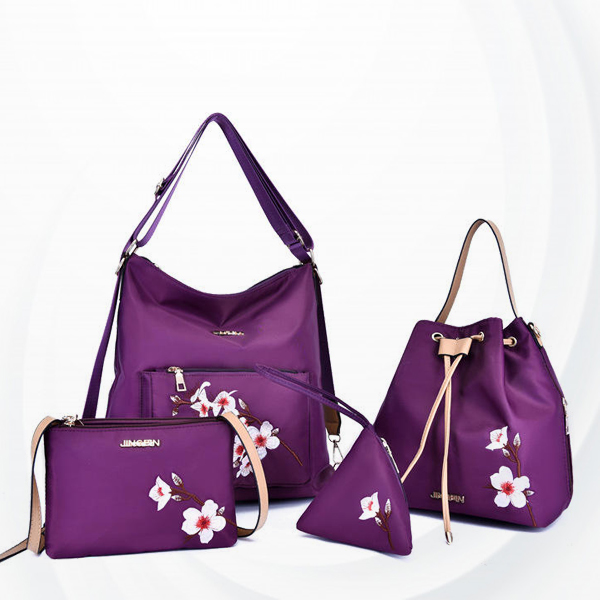 Four Pieces Floral Embroidered Bags Set - Purple