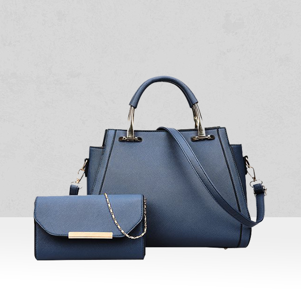 Luxury Two Pieces Solid Blue Handbags