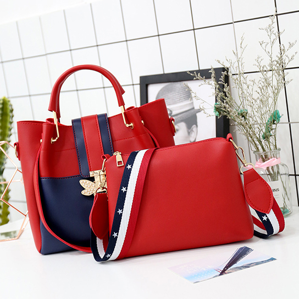Bug Patched Pearl Contrast Two Pieces Handbags - Red