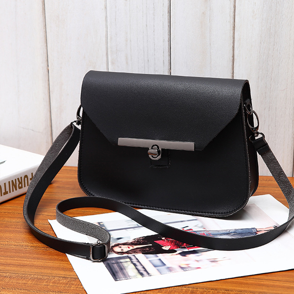 PU Leather Cross Body Messenger Bags - Black