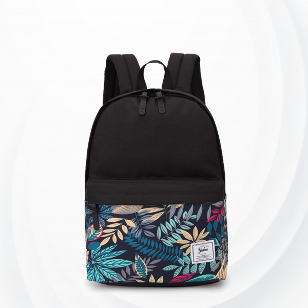 Bohemian Leaf Prints Zipper Closure Backpacks - Green