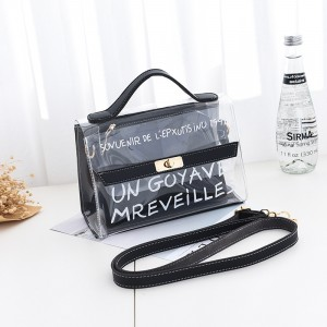 Two Piece Twist Lock Jelly Messenger Bags - Black