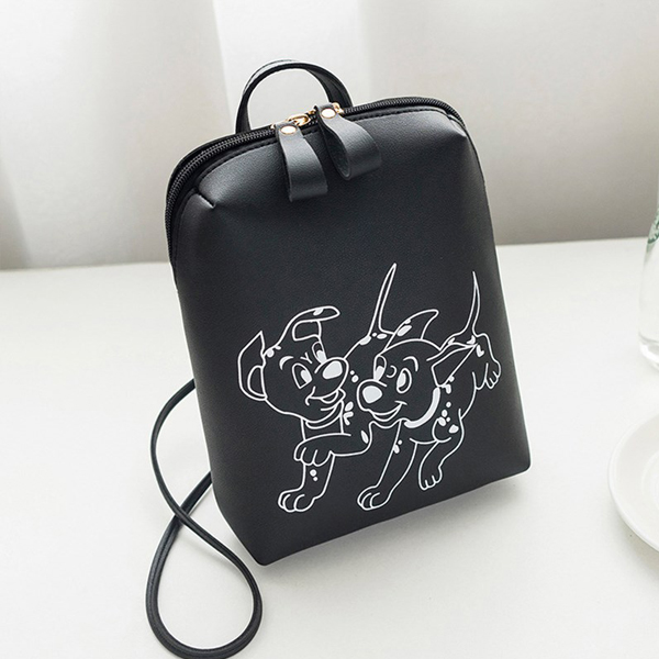 Dogs Printed Vertical PU Shoulder Bags - Black