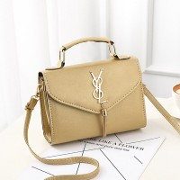 Tassel Pu Leather Casual Female Messenger Bags - Golden