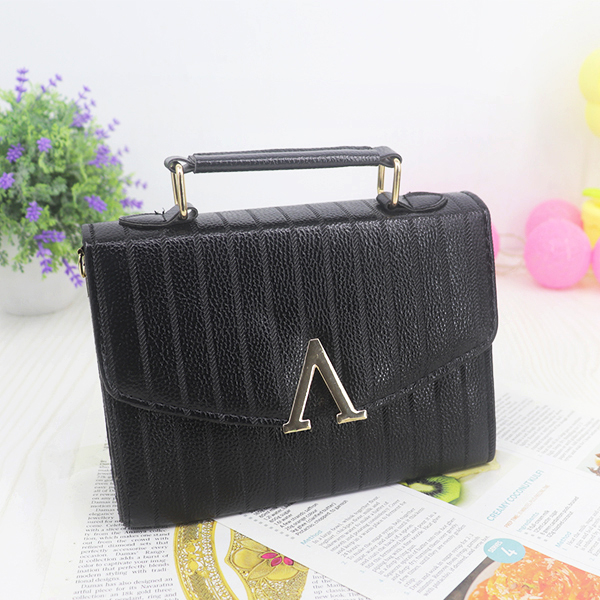 V Closure Pu Leather Doted Textured Messenger Bags - Black