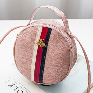 Striped Contrast Sphere Shoulder Bags - Pink