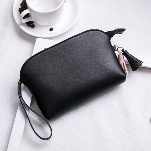 Tassel Hanging PU Leather Handy Pouches - Black