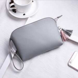 Tassel Hanging PU Leather Handy Pouches - Grey