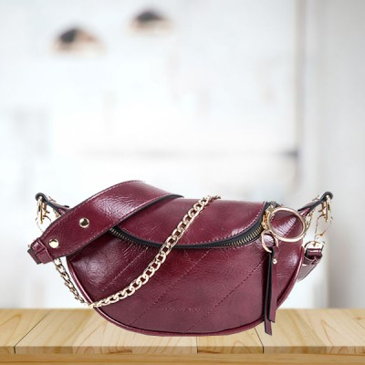 Fanny Pack Style Shiny Chain Strap Messenger Bags - Burgundy