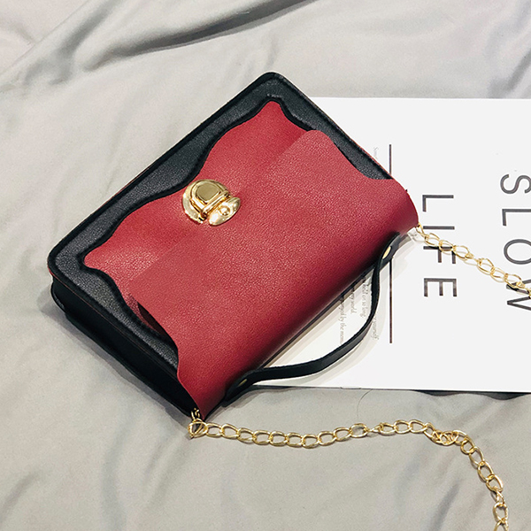 Press Lock Chain Strap Messenger Bags - Red