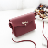 Bow Patched PU Strapped Shoulder Bags - Burgundy