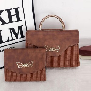 Bug Patched Patterned Two Pieces Bags Set - Brown