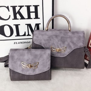 Bug Patched Patterned Two Pieces Bags Set - Grey
