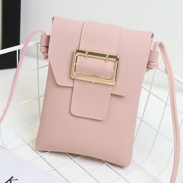 Buckle Front Synthetic Leather Vertical Bags - Pink