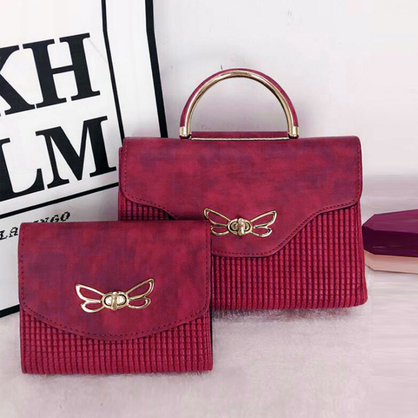 Bug Patched Patterned Two Pieces Bags Set - Red