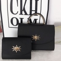 Star Patch Two Pieces Formal Bags Set - Black