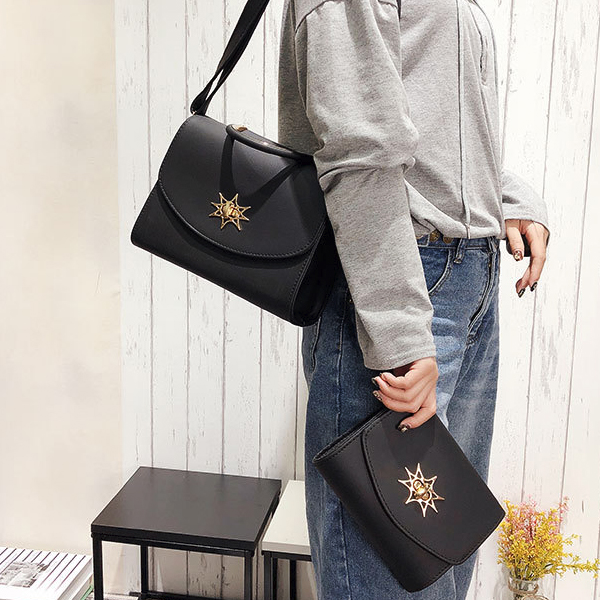 Star Patch Two Pieces Formal Bags Set - Khaki