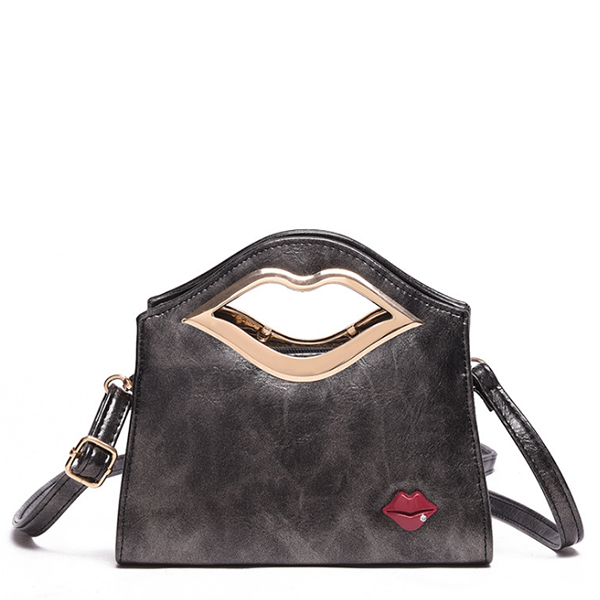 Latest Design European Style Lips Lips Jaws Shoulder Bag Black