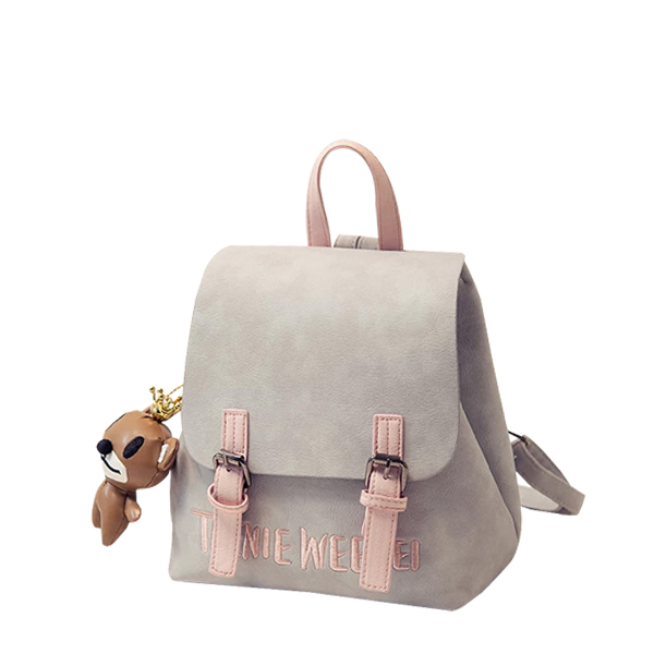 Grey Textured Embroidered Belt Closure Backpack