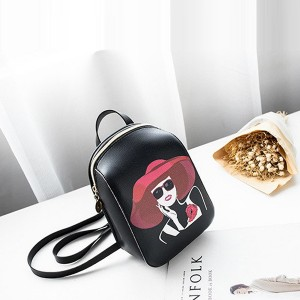 Fashion Women Prints Digital Zipper Backpack - Black