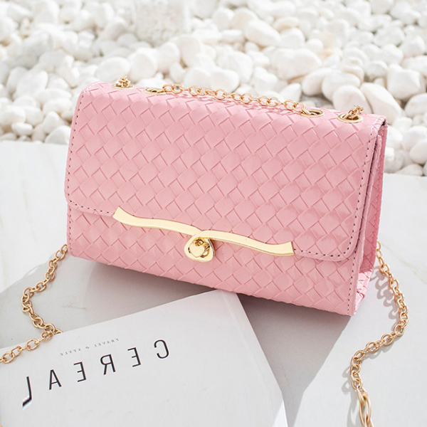 Textured Turn Lock Square Messenger Bag - Pink