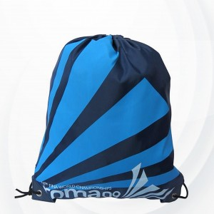 Striped Parachute Nylon Drawstring Backpack - Blue