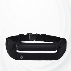 Zipper Closure Canvas Buckle Sports Fanny Pack - Black