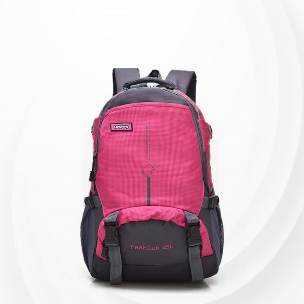 Sports Contrast Nylon Multi Pockets Backpacks - Pink