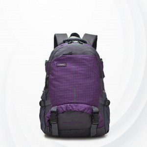 Sports Contrast Nylon Multi Pockets Backpacks - Purple