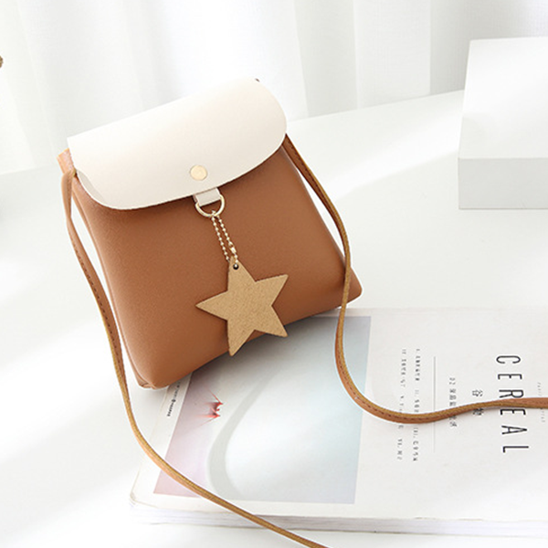 Star Patched Duo Contrast Brown Shoulder Bags