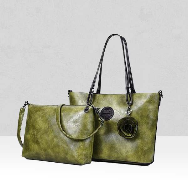 Rose Textured Green Two Pieces Handbags