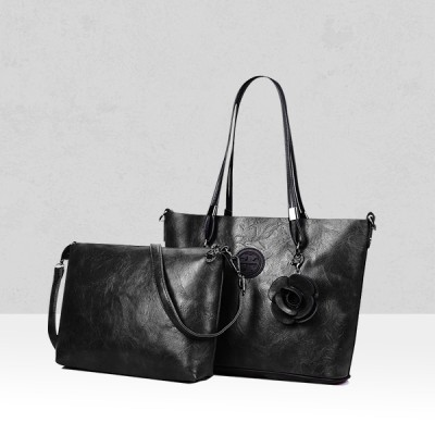Rose Textured Black Two Pieces Handbags