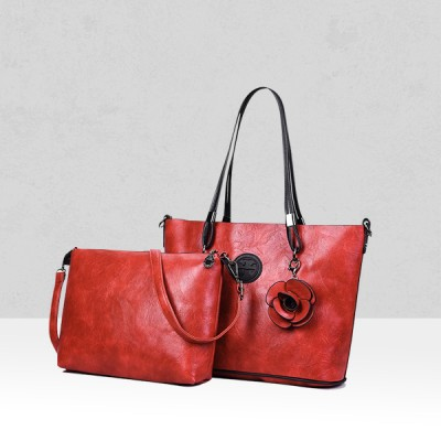 Rose Textured Red Two Pieces Handbags
