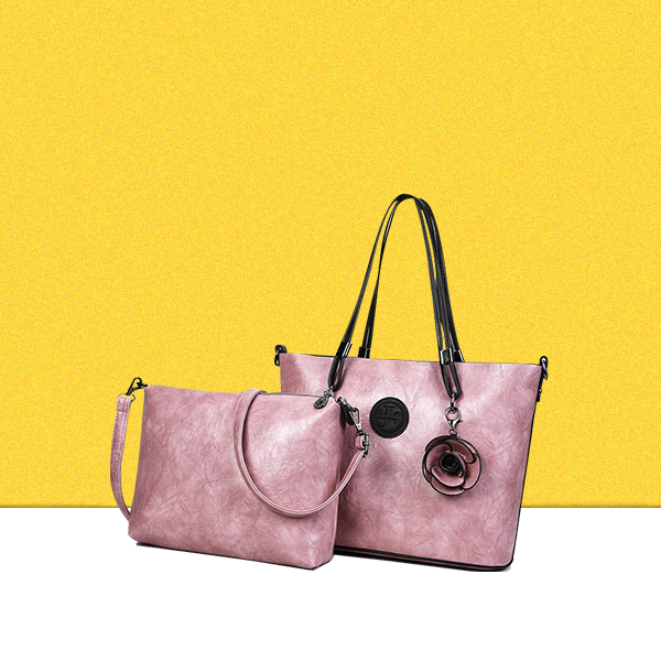 Rose Textured Pink Two Pieces Handbags