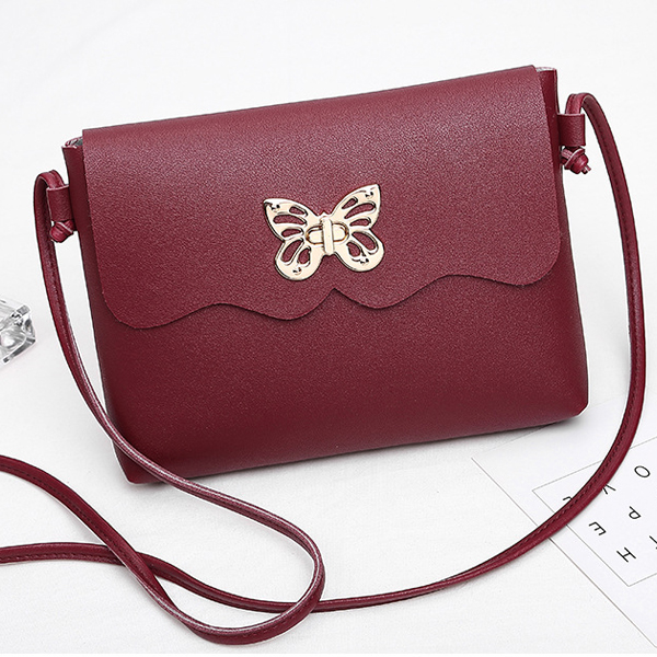 Butterfly Clutch Lock Shoulder Bags - Burgundy