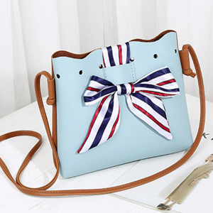 Flared Bow Patched PU Leather Shoulder Bags - Sky Blue