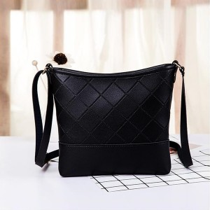 Patchwork Texture Synthetic Shoulder Bags - Black