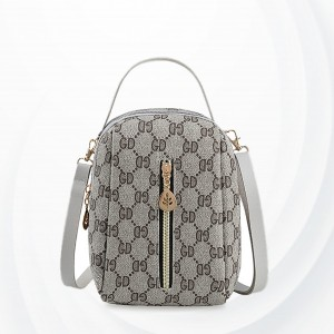 Zipper Closure Printed Pattern Shoulder Bag - Gray