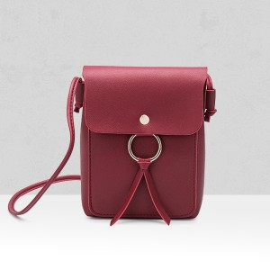 Shiny Ring PU Leather Shoulder Bags - Burgundy