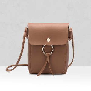 Shiny Ring PU Leather Shoulder Bags - Brown
