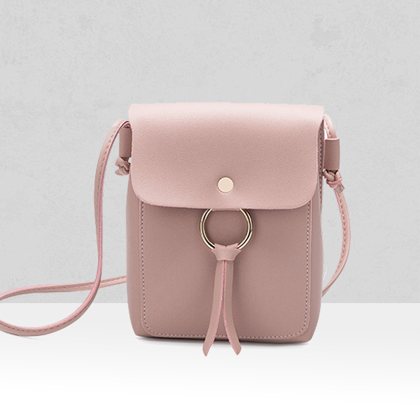 Shiny Ring PU Leather Shoulder Bags - Pink