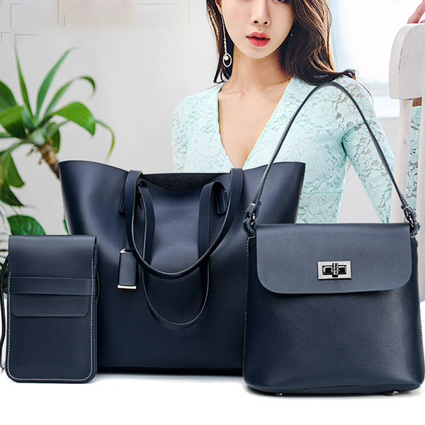 Quality PU Black Three Pieces Handbags Set