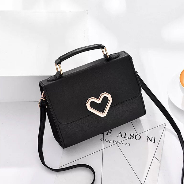 Heart Patched Magnetic Closure Messenger Bags - Black
