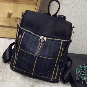 Checks Print Black Zipper Backpack