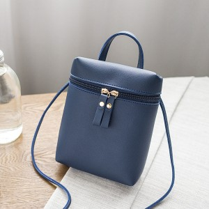 Zipper Closure Small Vertical Shoulder Bags - Dark Blue