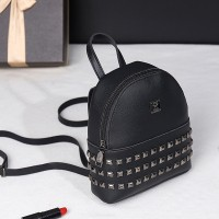 Rivets Decorated PU Leather Backpack - Black