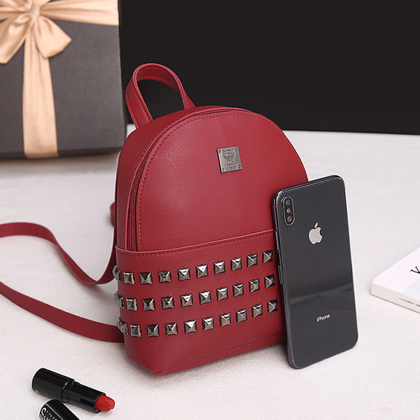 Rivets Decorated PU Leather Backpack - Burgundy