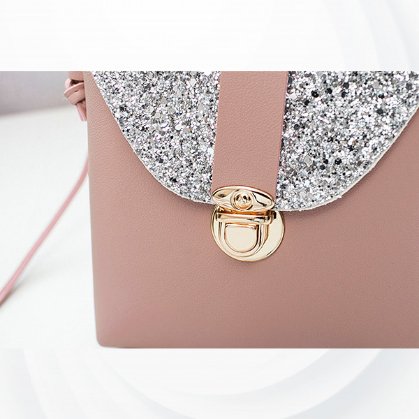 Glittered Clutch Lock String Shoulder Bags - Brown